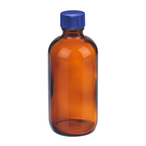 i-chem-brand-249-0250-200-series-type-iii-glass-amber-boston-round-bottle-pre-cleaned-with-ptfe-line