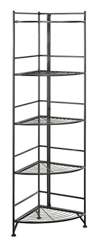Convenience Concepts Designs2Go X-Tra Storage 5-Tier Folding Metal Corner Shelf, Black