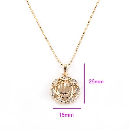 24K Gold Plated Allah Necklace Pendant Women's Men's Religious Spiritual Islamic Muslim Jewelry
