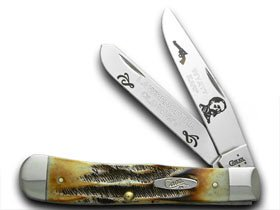 CASE XX Collector's Wyatt Earp 1/600 Trapper Bone Stag Pocket Knife Knives
