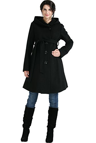 "Momo Maternity ""Lauren"" Wool Blend Belted Coat with Hood - Black S"
