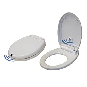 Itouchless white round touch free sensor for Touchless toilet seat