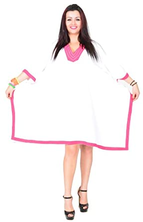 SUNROSE Pink Border Solid White PLUS SIZE Kaftan Beach Cover up