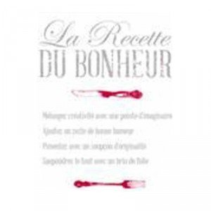 stickers cuisine la recette du bonheur 50x70cm cuisine maison. Black Bedroom Furniture Sets. Home Design Ideas