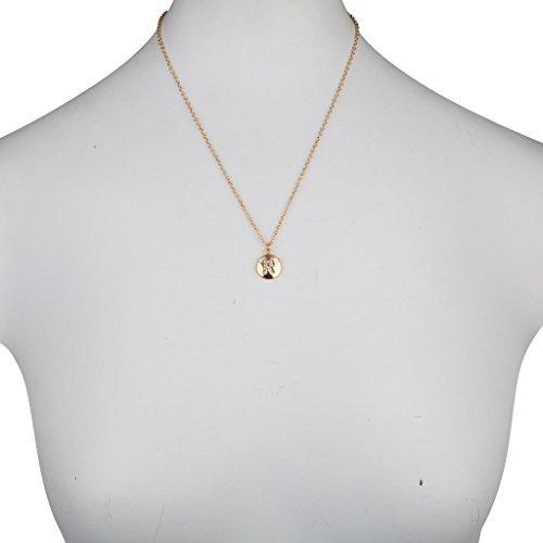 Lux accessori, con pavé di cristallo e lettera «R» Block-Portalettere con ciondolo a disco