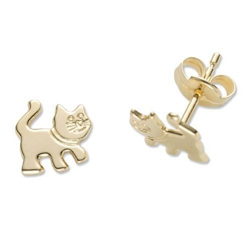 Children's Gold Earrings, 18ct Yellow Gold Cat Studs, by Miore, MK004E
