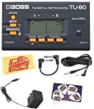 Boss TU-80 Chromatic Tuner and Metronome Bundle with AC Adapter, 10-Foot Instrument Cable, Patch Cable, Pick Card, and Polishing Cloth