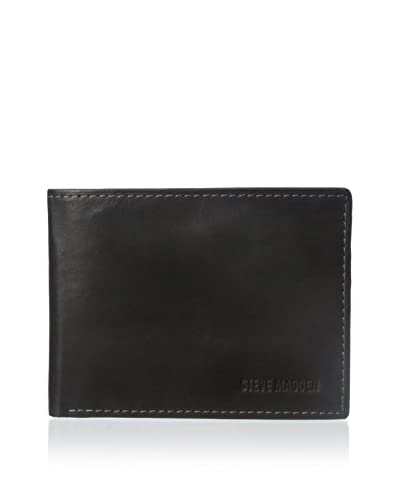 Steve Madden Men's Antique Passcase Wallet, Black, One Size