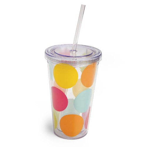 Cypress Home 17-Ounce Insulated Cup With Lid And Straw, Colorful Dots front-73455