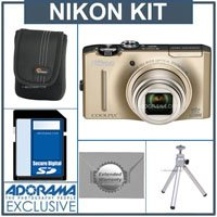 Nikon CoolPix S8100 Digital Camera Kit - Gold - With 4GB SD Memory Card, Camera Case, 2 Year Extended Service Coverage, Table Top Tripod,