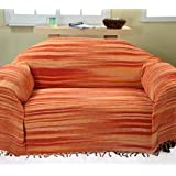 Bed Sofa Throw Cotton Chenille Tie Dye Orange
