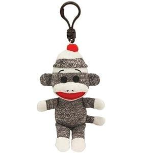 Ty Beanie Baby - Sock Monkey Gray Clip