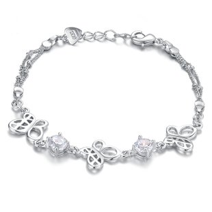 OPK New Fashion Butterfly 2-Color Crystal(CZ) 925 Silver Plated Bracelets Bangles Best Gift!