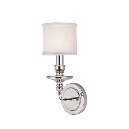 Capital Lighting 1231PN-451 Wall Sconce with White Fabric Shades, Polished Nickel Finish (Polished Chrome Wall Sconce compare prices)