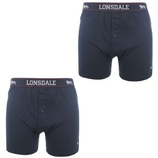 Lonsdale 2 Pack Boxers Mens Navy Medium