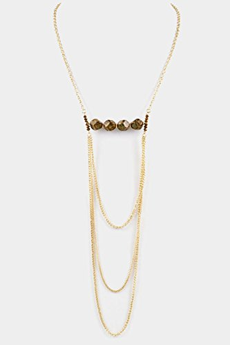 Trendy Fashion Jewelry Multi Chain Layered With Gem Stone Accent Necklace By Fashion Destination | (Brown)