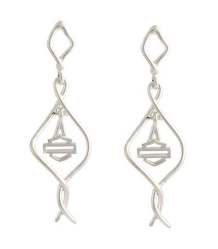 Harley-Davidson Stamper Women's Wire Twist Bar & Shield Dangle Earrings HE7498