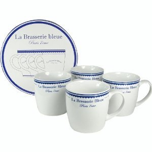 Brasserie Bleue Parisian French Cafe Style Mugs - Set Of 4