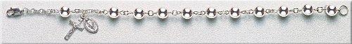 Sterling Silver Rosary Bracelet Bracelets Catholic 7mm Bead 7.5