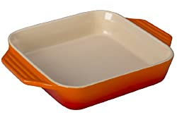 Le Creuset Stoneware Square Dish, 9.5-Inch, Flame