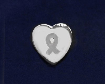 Gray Ribbon Pin-Heart Tac Pin (50 Pins)