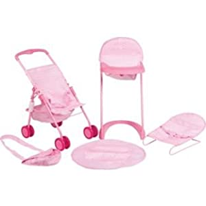 chad valley kids children baby girls 5 in 1 doll stroller highchair playmat bouncer changing. Black Bedroom Furniture Sets. Home Design Ideas
