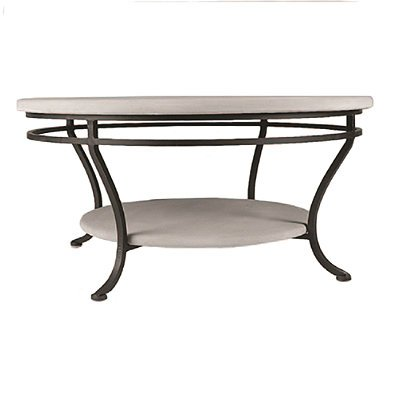 """Ocean Waves Round Double-Tiered Outdoor Coffee Table - Black, 48"""" Round - Frontgate, Patio Furniture"""
