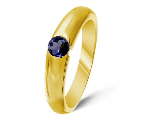 Classical 9 ct Gold Ladies Solitaire Engagement Ring with Iolite 0.25 Carat