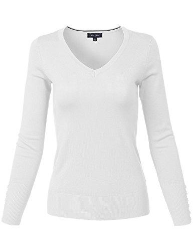 Slim Fit Basic V Neck Sleeve Button Thin Soft Classic Sweaters 139 white Medium
