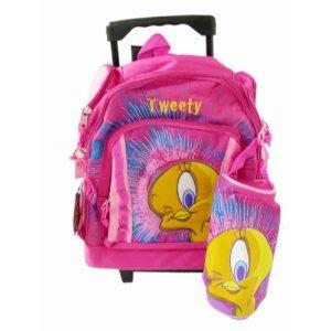 Warner Bros Tweety Kids Luggage - Pink Children Wheeled Back Pack by Looney Tunes