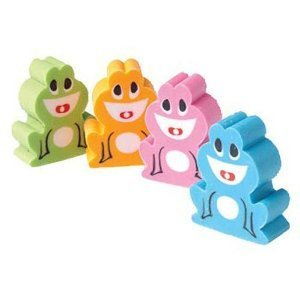 Lot Of 12 Assorted Color Frog Theme Erasers - 1