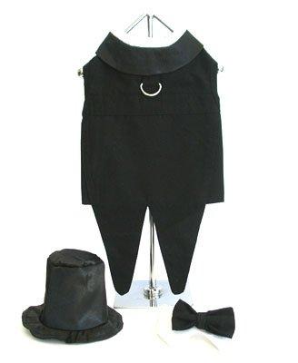 """Dog Tuxedo w/ Formal Tails - Black, XXXL (Chest 31-36"""")"""