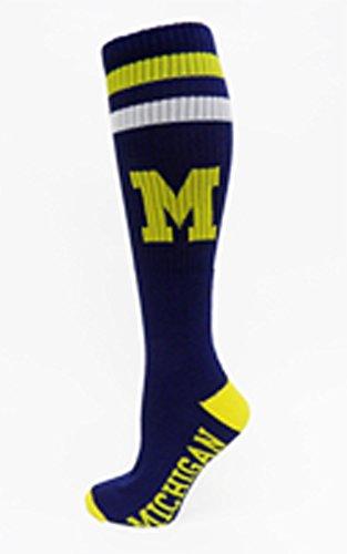 NCAA Michigan Wolverines Tube Socks, One Size, Blue