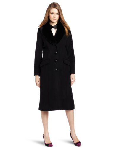 Kristen Blake Women's Saga Fox Shawl Collar Coat, Black, 2