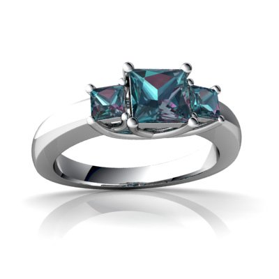 14kt White Gold Lab Alexandrite 3mm Square Three Stone Trellis Ring - Size 7