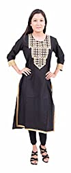 Krivi Fashion Cotton 3/4 Sleeve Black and Gold Casual Printed Round Nack Women's Kurti