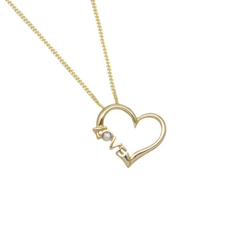 9ct Yellow Gold Heart Love with Diamond Slider Pendant 46cm Chain