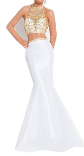 Coonek Sexy Sheer High Rhinestone Neck Cross Back Two Piece Mermaid Long Prom Dresses (Mermaids Sexy)