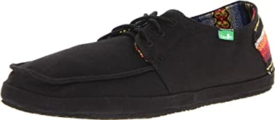 Sanuk Men's Mainstay SWS Boat Shoe,Black/Poncho,8 M US