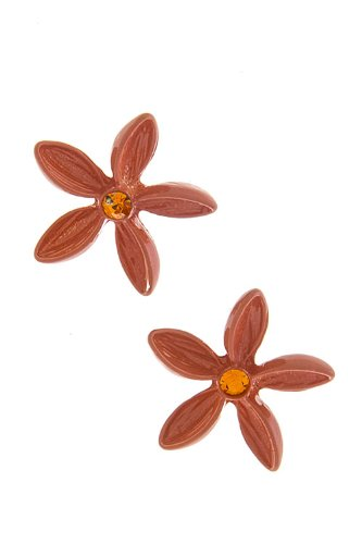Trendy Fashion Jewelry Color Floral Stud Earrings By Fashion Destination | (Orange)