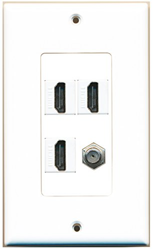 Riteav - 3 X Hdmi And 1 X Coax Cable Tv F Type Port Wall Plate White Decorative