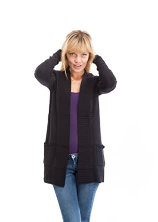 17210R-BK-S Classic Designs Ribbed Long Buttonless Cardigan in Black Size: S