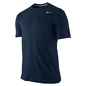 NIKE Herren kurzärmliges Shirt Dri-Fit Cotton Version 2.0, Dark Obsidian/Matte Silver, L, 407997-475