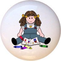 A Child's Art Coloring Girl Drawer Pull Knob