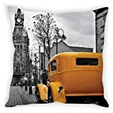 StyBuzz Cushion Cover - Vintage Car Yellow & Black