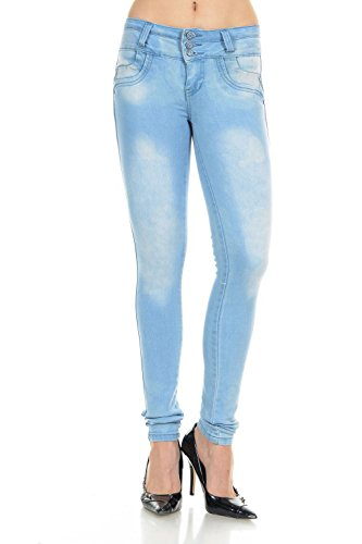 M. Michel Women´s Jeans Colombian Design, Butt Lift, Levanta Cola, Push-Up, Skinny - Style G202 - Light Blue - Size 07 (Light Blue Strech Jeans compare prices)