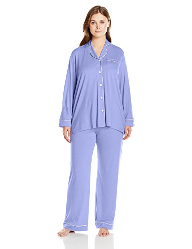 Cosabella Women's Plus-Size Bella Long Sleeve Top and Pant Pajama Set, Purple Sky/White, 2X Plus