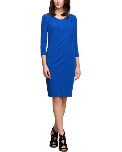 Comma Damen Kleid KURZ 89.403.82.2847, Knielang, Einfarbig, Gr. 38, Blau