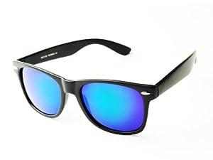 Occhiali da sole modello stile wayfarer classico nero - Occhiali specchio blu ...