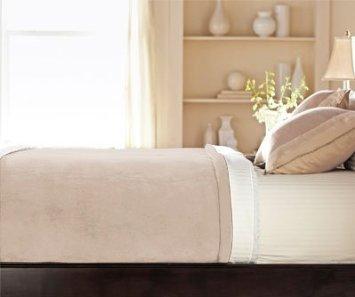 Sunbeam Velvet Plush Heated Blanket King Size Champaigne Blonde (20 Personalized Heat Settings)